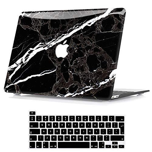 Belk Custodia Compatibile con MacBook PRO 13 Pollici 2020-2016 con/Sans Touch Bar A2338 M1 A2289 A2251 A2159 A1989 A1706 A1708, Motivo Plastica Rigida Cover con Copertura della Tastiera, Marmo Nero