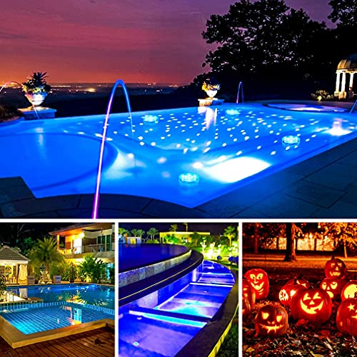 Hoofun Underwater Pool Lights, Submersible Lights with Remote Control, Shower Lights for Vase Fish Tank, Battery Operated Decoration Lights for Tub, Pool, Aquarium, Pond, Fountain (4 Pack)