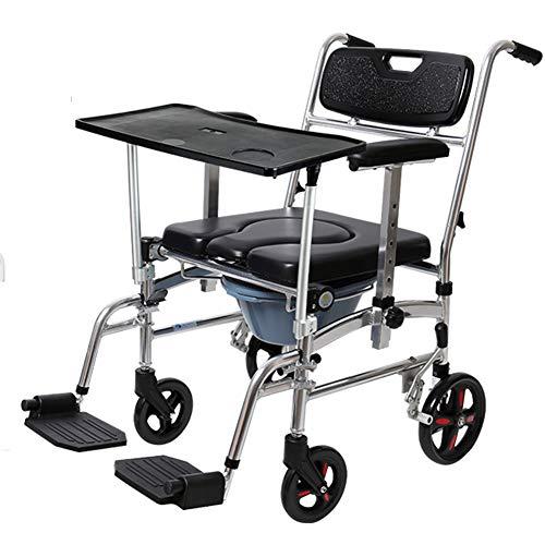 SXFYGYQ Silla de Ruedas Silla de Ruedas con Orinal móvil Plegable Puede bañarse con una Mesa Sillas de Ruedas para discapacitados portátiles multifuncionales para Ancianos