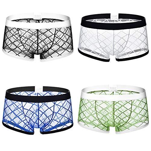INSOUR Herren Boxershorts Sexy Transparente Unterhose Durchsichtige Kurze Shorts Soft Mesh Gaze Unterwäsche Trunk for Man Packung mit 4 Stück