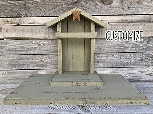 STABLE for a NATIVITY *Distressed REAL Wood Stables Manger Creche fits Willow Tree Angels (not included) *Green Red Burgundy Antique White *No Assembly! *Made in USA ***SALE***