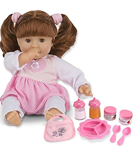 Melissa & Doug Bundle Includes 2 Items Mine to Love Brianna 12-Inch Soft Body Baby Doll with Hair and Outfit Mine to Love Time to Eat Doll Accessories Feeding Set (8 pcs)
