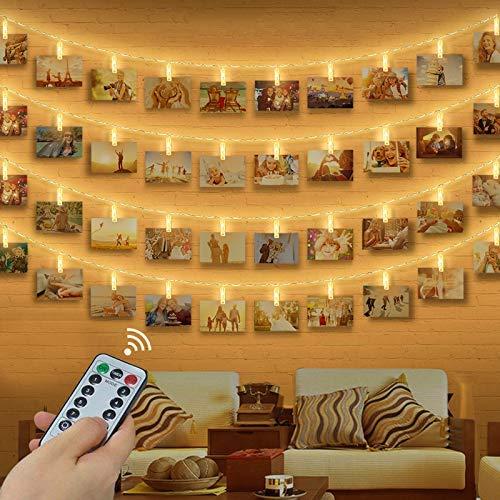 LED Foto Clip Lichterkette, otumixx LED Foto Lichterkette 40 Foto-Clips 4,2 Meter Warmweiß Foto Lichterketten mit Fernbedienung, 8 Modi, Batteriebetrieben für Hängendes Foto Memos Kunstwerke