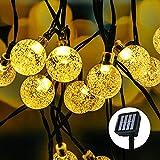 Guirnaldas Luces Exterior Solar, Segotendy 8M/26.3FT 50 LED Solar Bola De Cristal Luz Decorativa, 8 Modos IP65 Cadena De Luces Impermeable, para Patio,Jardín,Boda,Fiesta,Decoración Del