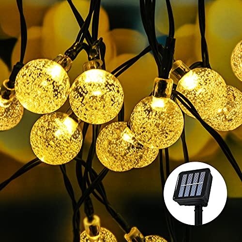 Solar Lichterkette Außen,Segotendy 8M 50 LED Lichterkette Aussen mit Kristallkugeln, 8 Modi IP65 Wasserdicht Solarlichterkette Außen für Zimmersdekorationen, Bäume, Garten, Balkons, Partys