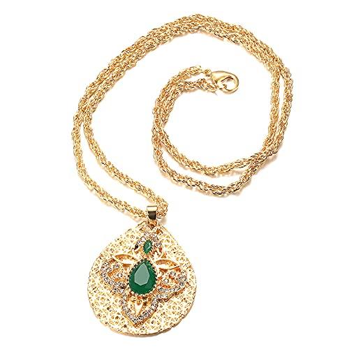 QNONAQ Joyería Vintage Collar Colgante Largo de Color Dorado de Marruecos de Lujo para Las Mujeres Adornos de Flores Indio étnico Boda joyería Collares Collares (Metal Color : Green)