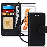FYY Case for iPhone 6S Plus/iPhone 6 Plus (5.5'), [Kickstand Feature] Luxury PU Leather Wallet Case Flip Folio Cover with [Card Slots][Wrist Strap] for iPhone 6S+ Plus/iPhone 6+ Plus (5.5') Black