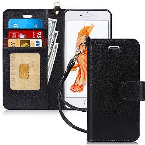 "FYY Case for iPhone 6S Plus/iPhone 6 Plus (5.5""), [Kickstand Feature] Luxury PU Leather Wallet Case Flip Folio Cover with [Card Slots][Wrist Strap] for iPhone 6S+ Plus/iPhone 6+ Plus (5.5"") Black"