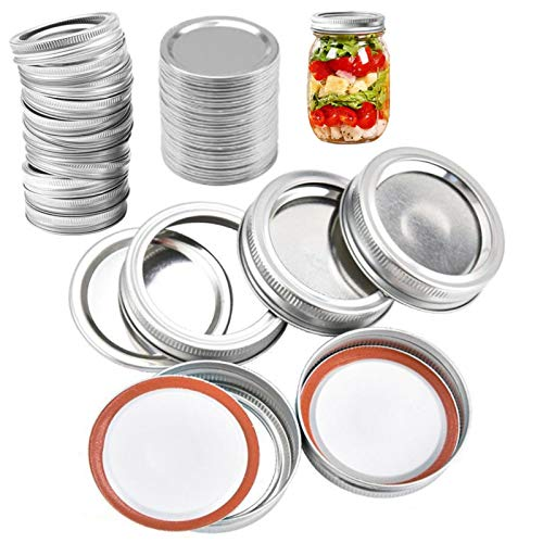 Vigorstar 24Set/48Pcs Mason Jar Lids and Bands Regular Mouth 70mm, Reusable Canning Lids and Rings, Seal Canning Lids Jar Flats Bulk, Mason Jar Canning Caps Storage Metal Silver-24Pcs Lids&24Pcs Bands