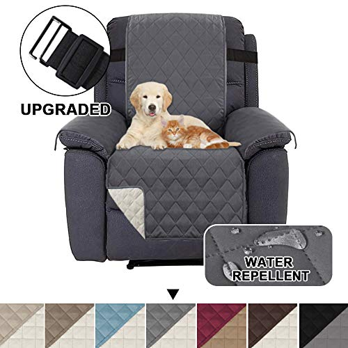 Fundas Impermeables para sillas reclinables para sillones Fundas reclinables para sillas de Cuero Fundas reclinables para sillas Proteger (Sillón reclinable, Gris/Beige)
