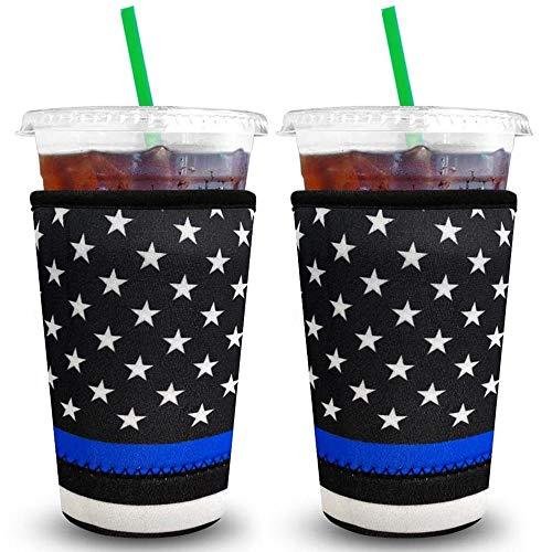 XccMe Wiederverwendbare Eiskaffee-Hüllen aus Neopren, Isolierbecher für kalte Getränke, Getränkehalter, ideal für Dunkin-Donuts, Starbucks-Kaffee, McDonalds (große schwarze Flagge), 2 Stück