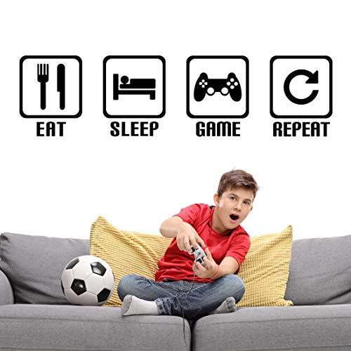 KAIRNE Wandtattoo Gamer, Eat Sleep Kinderzimmer Wandaufkleber, Wandtattoos gamer Sprüche, Videospiel Wandsticker, Controller, Teenager Video Spiel für wohnzimmer, Playroom Spielzimmer deko