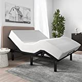 SHA CERLIN Adjustable Bed Base Frame / Queen Size Bed Base with Adjustable Head and Foot / Wireless Remote Control / Wood Board Support with Fabric Cloth Cover (Queen, Base Only)