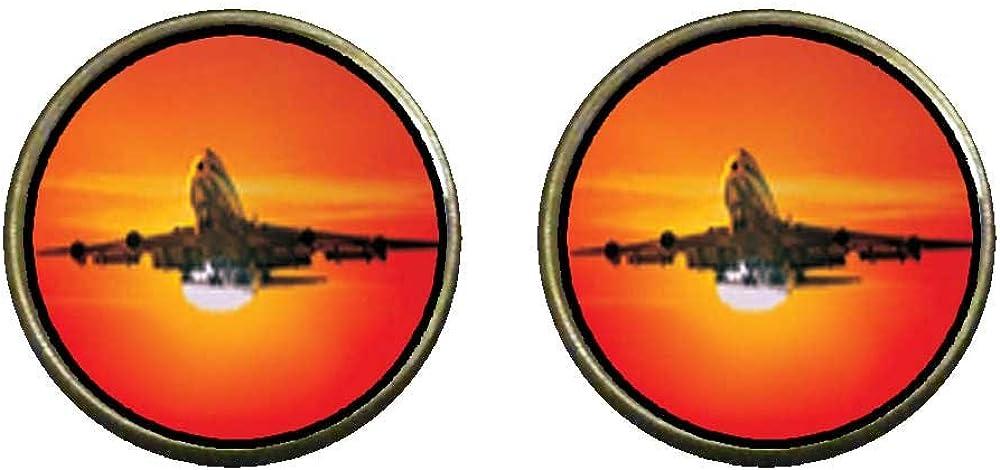GiftJewelryShop Bronze Retro Style Sunset Airplane Photo Clip On Earrings 14mm Diameter