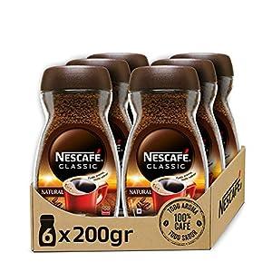 NESCAFÉ CLASSIC NATURAL todo aroma y sabor, café soluble, 100 % café, frasco de vidrio, Pack de 6 x 200 g.