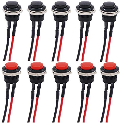 RUNCCI-YUN 10pcs 16 mm pulsador interruptor,pulsador 12v, pulsador redondo,AC 250 V/3 A 125 V/6 A ON/OFF momentáneo Mini pulsador Interruptor de alimentación (Con linea)