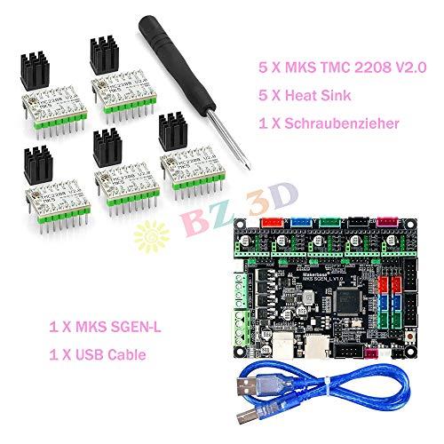 BZ - Placa controladora 3D MKS SGen L V1.0 de 32 bits compatible con Uart/SPI con A4988 MKS TMC2208/2209 Steep Motor Driver para piezas de impresora 3D.(Board+TMC2208*5)