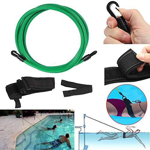 L-DiscountStore Cinture da Allenamento per la Nuotata, Allenatore di Nuoto 4M Tether Nuoto stazionario con Paracadute da Nuoto, Cintura da Nuoto statica con Imbracatura da Nuoto in Posizione (Green)