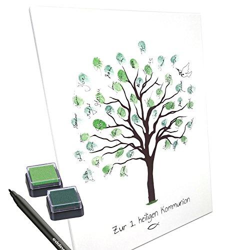 KATINGA Leinwand zur Kommunion für Fingerabdrücke, Baum, 30x40cm (Ohne Name)