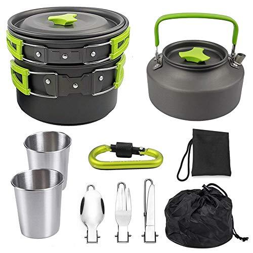 Utensilios de Cocina Olla Juego de Tazas Plegable Tetera Kit Estufa Caldera de Aluminio Que va de excursión al Aire Libre Verde