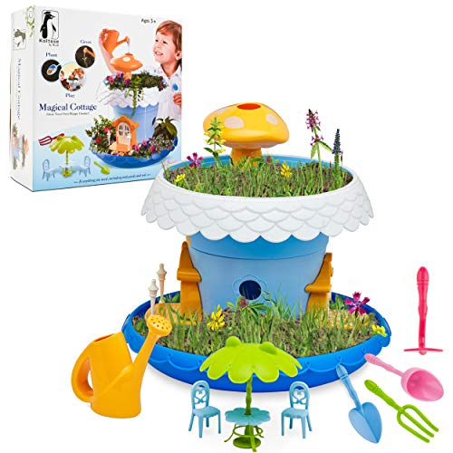 Koltose by Mash Fairy Garden Kit, DIY Fairy Garden Kit for Girls and Boys Complete With All Supplies and Accessories Including Flowerpots, Base, Watering Can