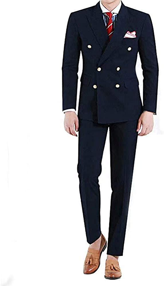 RONGKIM Men's 2 Piece Slim Fit Suit Double Breasted Wedding Groom Formal Prom Party Tuxedo