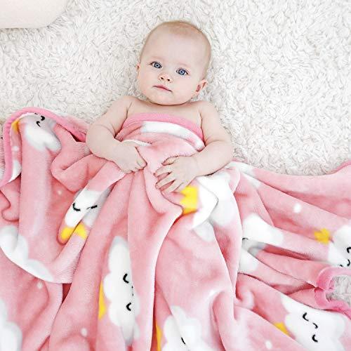 TILLYOU Micro Fleece Plush Baby Blanket Large Lightweight Crib Blanket for Toddler Bed, Super Soft Warm Kids Blanket for Daycare Preschool, Fluffy Fuzzy Flannel Nap Blanket Oversized, 40x50 Pink Cloud