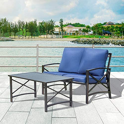 Best LOKATSE HOME 2 Pieces Patio Loveseat Metal Frame with Coffee Table Outdoor Bistro Furniture Set for