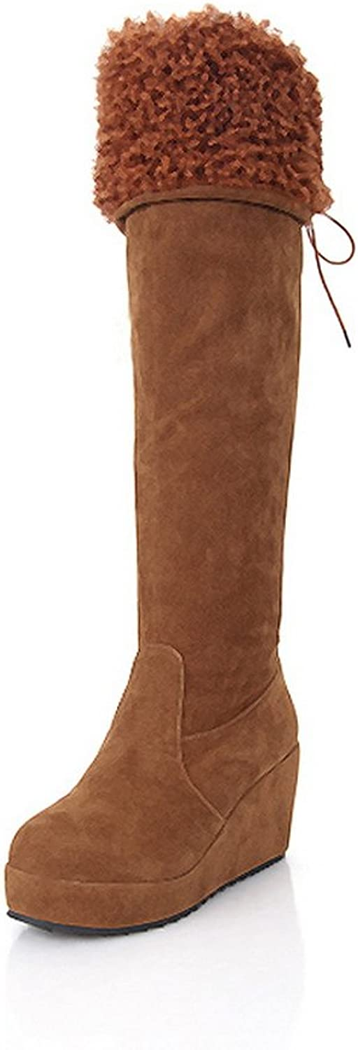 QueenFashion Women's Sexy Style Solid Wedge High Leg Boots with Lace-up and Round Toe