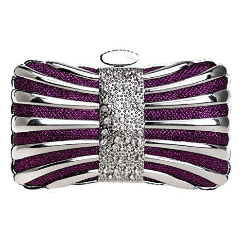 Luckywe Bolso de embrague Carteras de Mano Arco metal De Cristal Billetera para Fiesta Partido Boda A12 Púrpura