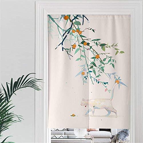 MYRU Japanischer Noren Vorhang Katze und Blätter für Restaurant Schrank Tür Eingang Feng Shui Türvorhang 85 x...