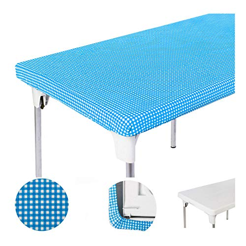 TopTableCloth Picnic Table Cover Blue Checkered Elastic Table Cloth on The Corner for Folding Table 6ft 30quotx72quot Outdoor TableCloths Waterproof Stay Put Party Table Covers Plastic Tablecloth Birthday