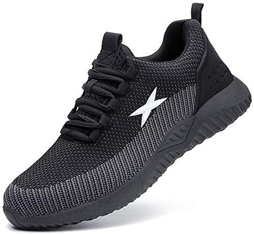 Zapatos de Seguridad para Hombres Zapatos de Acero con Punta de Seguridad,Zapatillas Deportivas Ligeras e Industriales Transpirables, 703 Black 45
