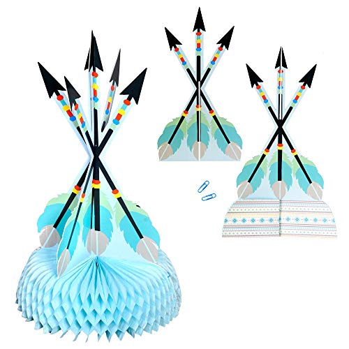 "Havercamp Adventure Begins Blue Arrow Table Centerpiece – Happy Birthday, Baby Shower Centerpiece with Large 16"" Adventure Arrows for Birthdays, Gender Reveals, Baby Showers & Birthday Party Supplies"