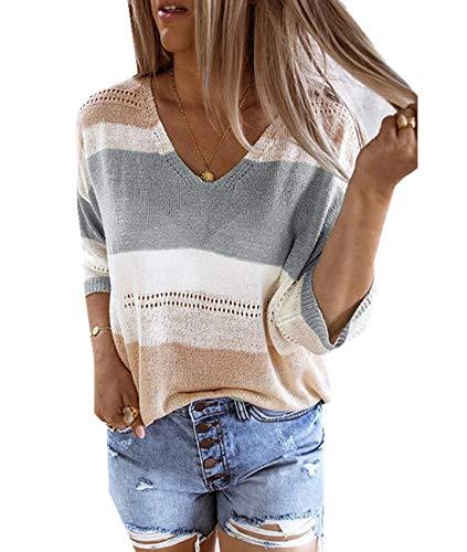 Cyiozlir Pullover Damen V-Ausschnitt Stricken Shirt 3/4 Ärmel Oberteile Dünn Strickpullover Sommer Lose Bluse Top (#0044_GRM)