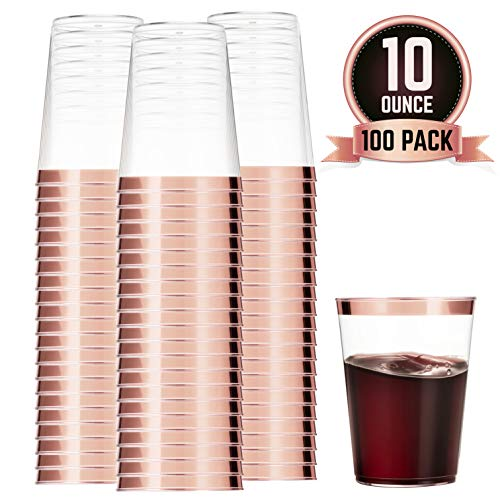 100 Rose Gold Plastic Cups 10 Oz Clear Plastic Cups Tumblers Rose Gold Rimmed Cups Fancy Disposable Wedding Cups Elegant Party Cups with Rose Gold Rim