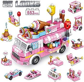 Panlos Stem 553-Pieces Educational Ice Cream Car Building Bricks Toy
