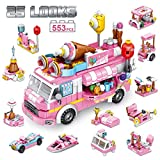 PANLOS STEM Educational Learning Building Bricks Toy 553 Pieces Ice Cream Car Set Vehicles Gifts for Kids Girls Tight Fit and Compatible with All Major Brands