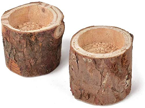 Uooker 2 PCS Tea Light Candle Holders Natural Pine Wood Tree Branch Wooden Candle Holder Handmade Candlesticks for Home Decoration Rustic Wedding Party Birthday Holiday