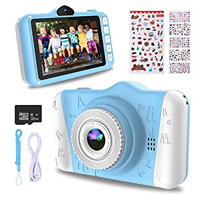 WOWGO Kids Digital Camera - 12MP Children's Camera with Large Screen for Boys and Girls, 1080P Rechargeable Electronic Camera with 32GB TF Card by WOWGO