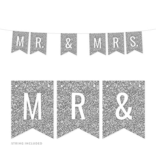 Andaz Press Faux Silver Glitter Lesbian Wedding Party Banner Decorations, Mr. & Mrs, Approx 5-Feet, 1-Set, Colored Hanging Pennant Decor