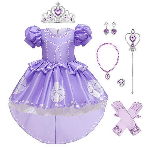 Disfraz de princesa de Sofa de Cenicienta, Rapunzel, Blancanieves, Elsa, Halloween, Navidad, Carnaval, Cosplay, tul tut, fiesta de cumpleaos, vestido con accesorios para nios Lila-sofia 7-8 Aos