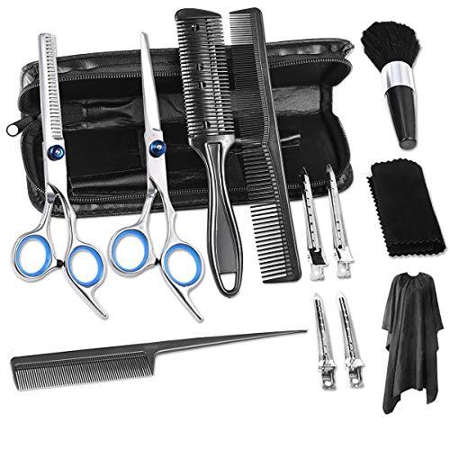 Nabance 13PCS Juego de Tijeras para Cortar el Cabello Kit de Peluquería Profesional Adelgazar Hair Razor Comb Clips Cape Barber Set para Home Salon