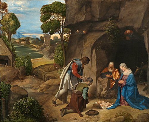 Berkin Arts Giorgione Giclee Canvas Print Paintings Poster Reproduction(The Adoration of The Shepherds) Large Size39 x 31.9 inches