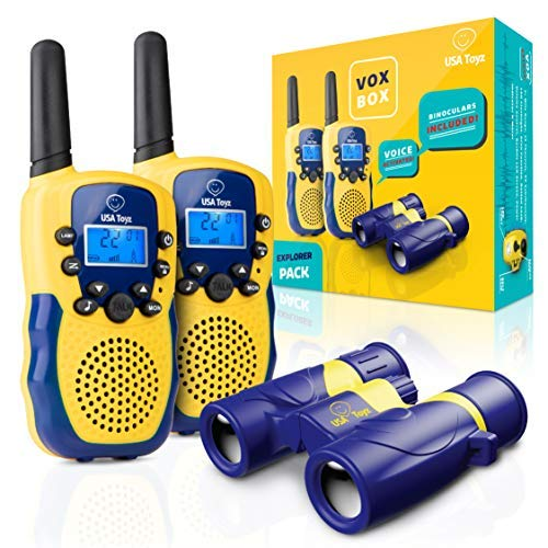 USA Toyz Vox Box Walkie Talkies for Kids - 2pk Voice Activated Walkie Talkie Set for Kids with LED Flashlight, 2 Mile Range, LCD Screen, and 1 Toy Binoculars (Blue and Yellow)