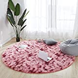 REDREDRED Area Rugs Home Decor Furry Rug Modern Round Soft Fluffy for Kids Girls Room Circle Rug for Bedroom Living Room Home-Wine Red Dye