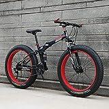 Fat Tire Bike para Hombres, Mujeres, Bicicleta Plegable de Bicicleta de montaña, Marco de Acero con Alto Contenido de Carbono, Marco de Doble suspensión, Doble Freno de Disco para Viajes al