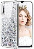 wlooo Samsung Galaxy A50 Hülle, Handyhülle Samsung Galaxy A50, Glitzer Mädchen Bewegende Flüssig Treibsand Cover Transparent Weich Flexible TPU Bumper Silikon Schutzhülle Hülle (Silber)