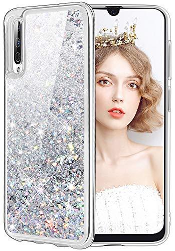 WLOOO Samsung Galaxy A70 Hülle, Handyhülle Samsung Galaxy A70, Glitzer Mädchen Bewegende FlüSsig Treibsand Cover Transparent Weich Flexible TPU Bumper Silikon Schutzhülle Case (Silber)
