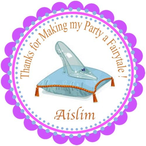 """40 Round Labels 2"""" Personalized Cinderella Slippers Stickers, Princess Custom Hangtags, Princess Party Favors Labels, Cupcake Toppers, Choice Of Size"""
